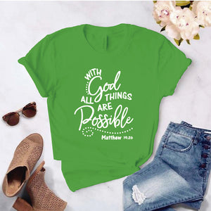 Camiseta estampada T-shirt pulso WHIT GOD ALL THINGS ARE POSSIBLE