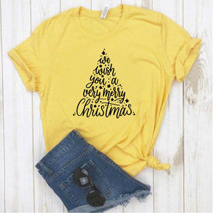 Camisa estampada  tipo T-shirt  We wish you a very merry christmas (Árbol de navidad)