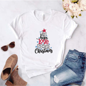 Camisa estampada  tipo T-shirt  de polialgodon Joy, hope, love, peace, christmas Arbolito