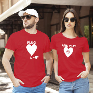 Camiseta estampada tipo T-shirt de pareja Plug and Play