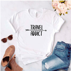 Camisa estampada tipo T- shirt Travel Addict