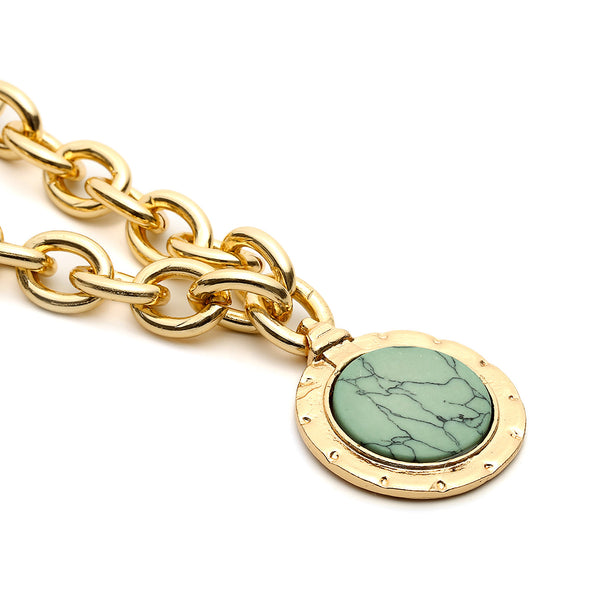 Blue Marble Chain Pendent Necklace - Damnbling