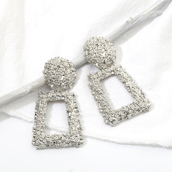 Fuzzy Geometric Trapezoid Drop Earrings - Damnbling