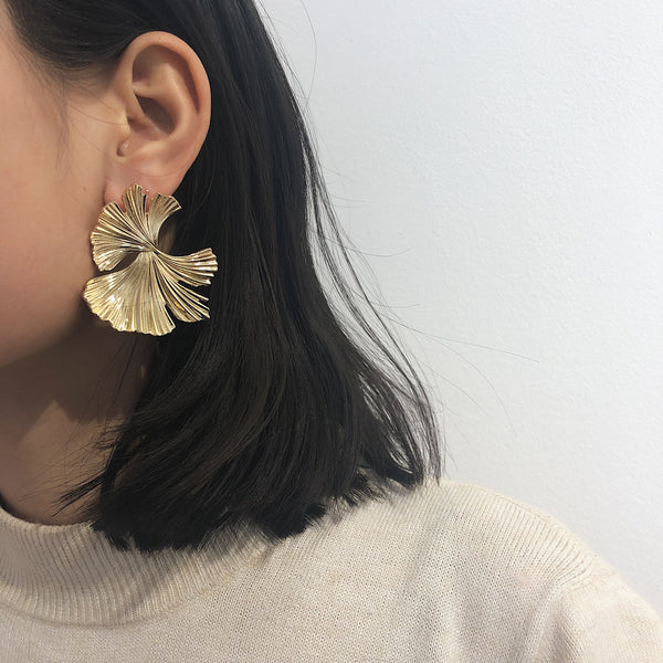 Ginkgo Leaf Post Earrings - Damnbling