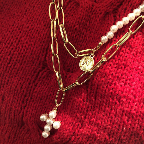 Pearl Cross Gold Link Chain Layering Necklace - Damnbling