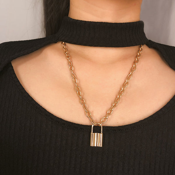 Classic Chunky Lock Pendent Necklace - Damnbling