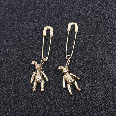 Mechanic Rabbit Paper Clip Earrings - Damnbling