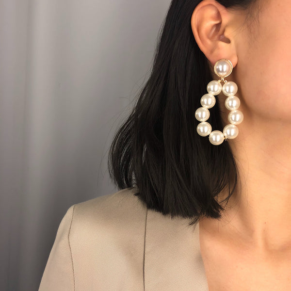 Large Pearl Drop Earrings - Damnbling