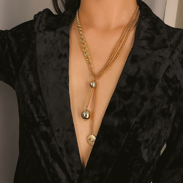 Metallic Bead Drop Layering Necklace - Damnbling