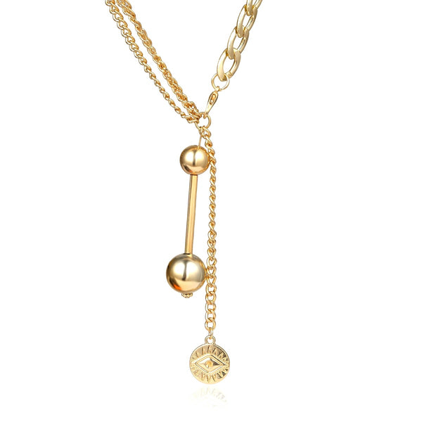 Pendent Bead Chain Layering Necklace - Damnbling
