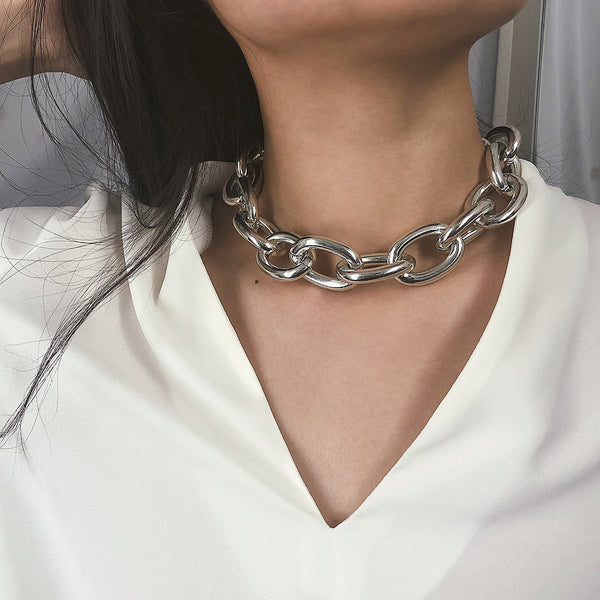 Silver Extra Chunky Chain Short Necklace - Damnbling