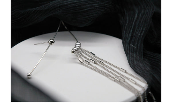 Long Chain Petite Pearl Ear Cuff - Damnbling
