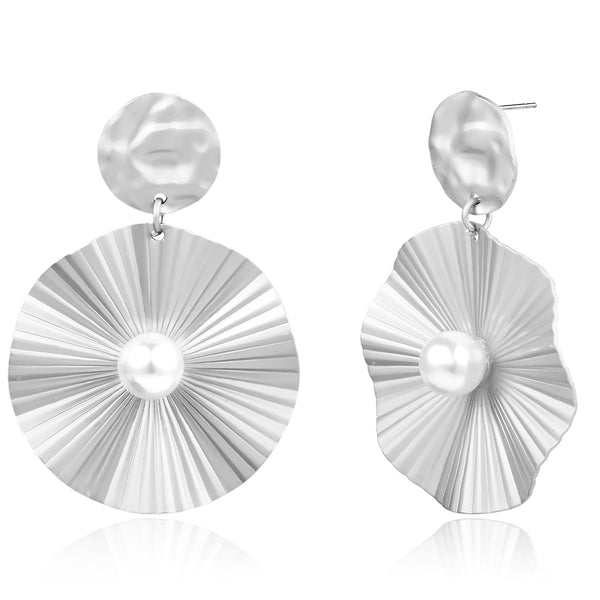 Vintage Pearl Wrinkle Drop Earrings - Damnbling
