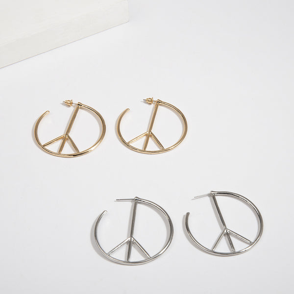 Peace Sign Hollow Hoop Earrings - Damnbling