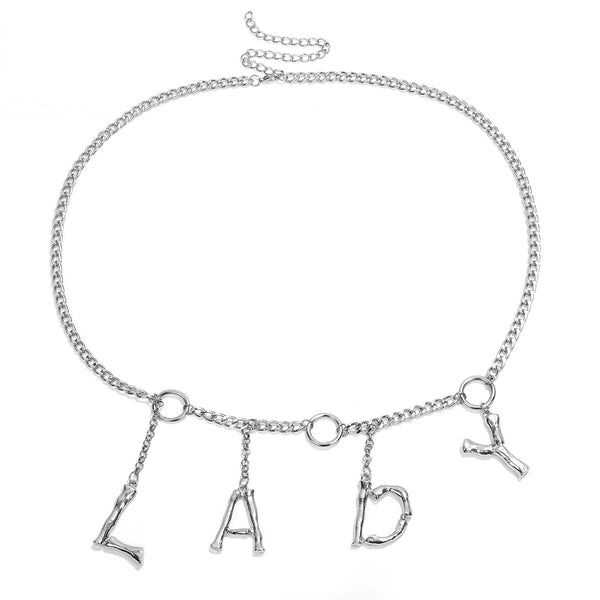 LADY Text Chain Belt - Damnbling