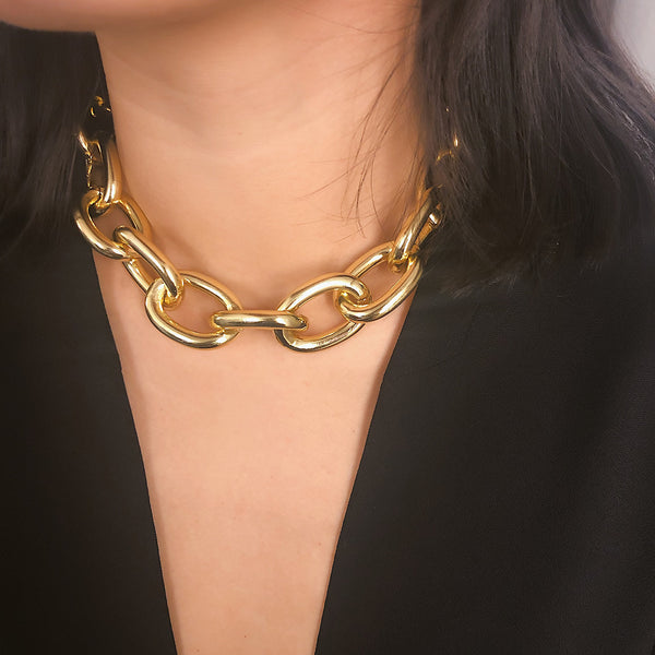 Gold Extra Chunky Chain Short Necklace - Damnbling