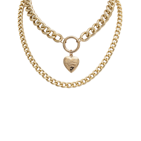 Double Chunky Layering Open Heart Necklace - Damnbling