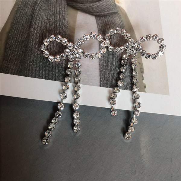 Diamond Bow Knot Earrings - Damnbling