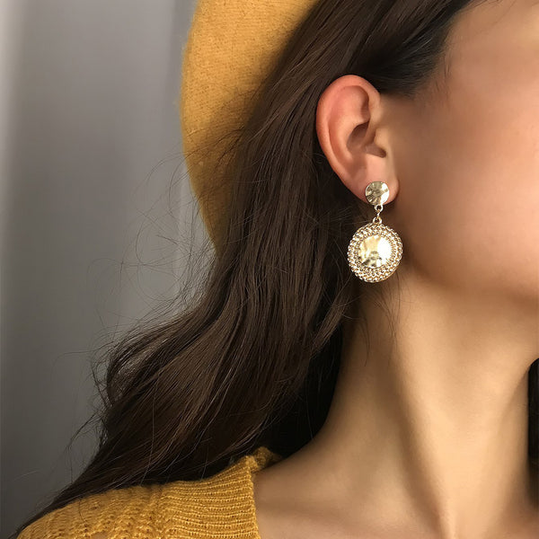 Polished Gold Coin Drop Earrings - Damnbling