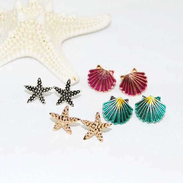 Metallic Sea Shell Post Stud Earrings Set - Damnbling