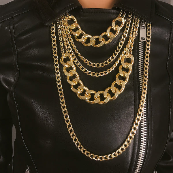 Modern Gold Chunky Layering Necklace - Damnbling