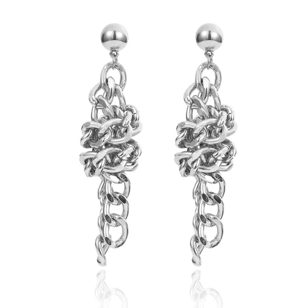 Twisted Chain Long Drop Earrings - Damnbling