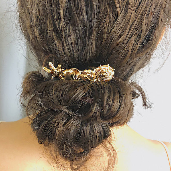 Metallic Sea Shell Hair Pin - Damnbling