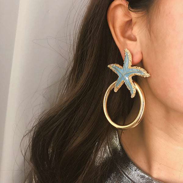 Sea Shell Thick Hoop Earrings - Damnbling