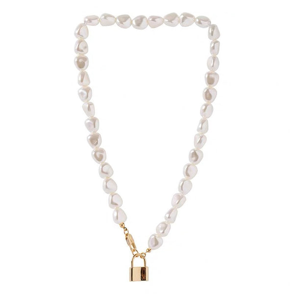 Natural Pearl Lock Layering Necklace - Damnbling