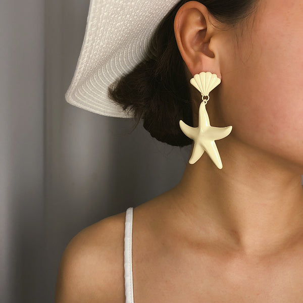 Macaroon Sea Shell Drop Earrings - Damnbling