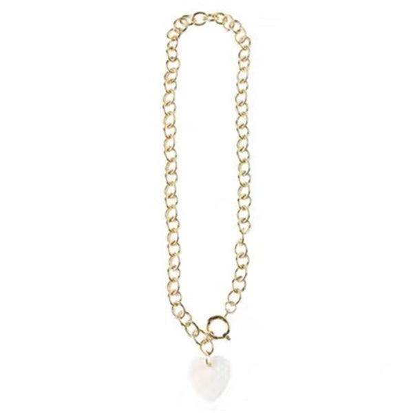 White Shell Heart Chain Pendent Necklace - Damnbling