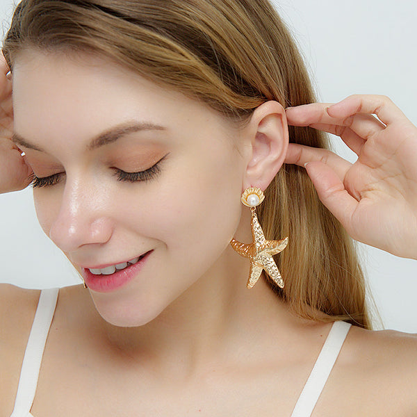Sea Star Pearl Drop Earrings - Damnbling