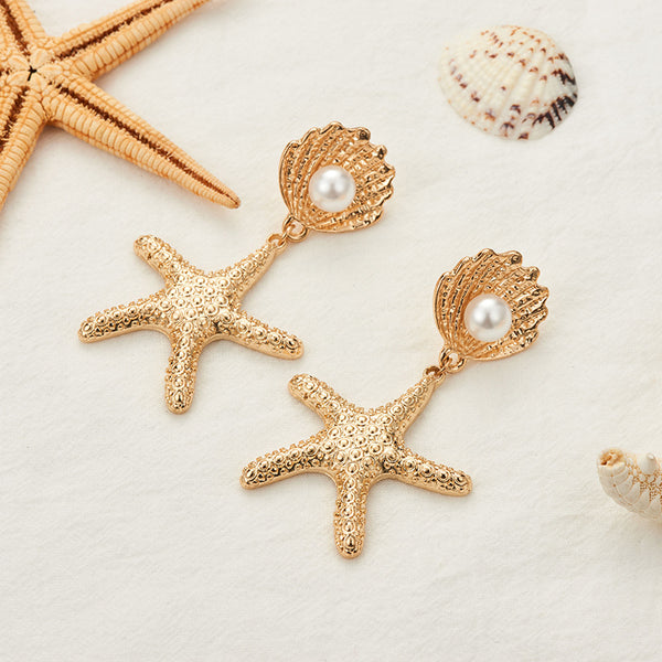Golden Sea Star Pearl Drop Earrings - Damnbling