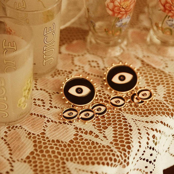Black Evil Eye Statement Earrings - Damnbling