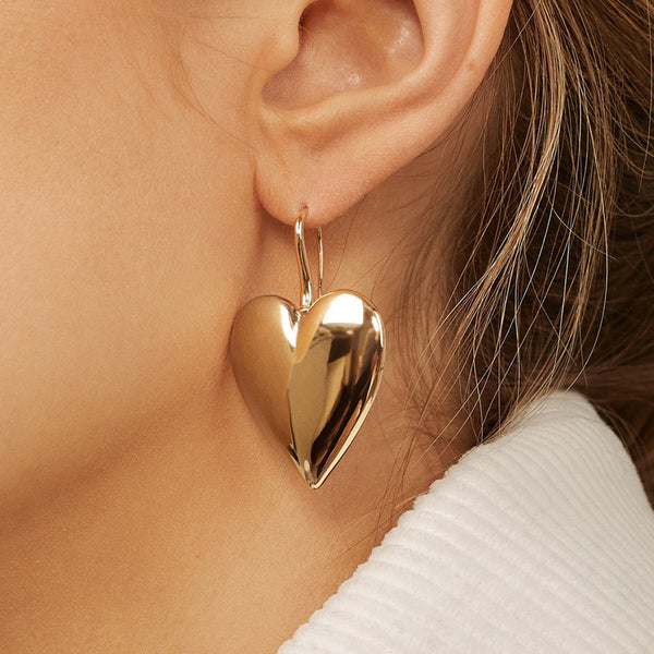 Modern Heart Drop Earrings - Damnbling