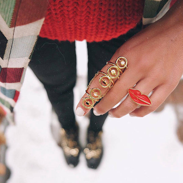Red Lip Statement Ring - Damnbling