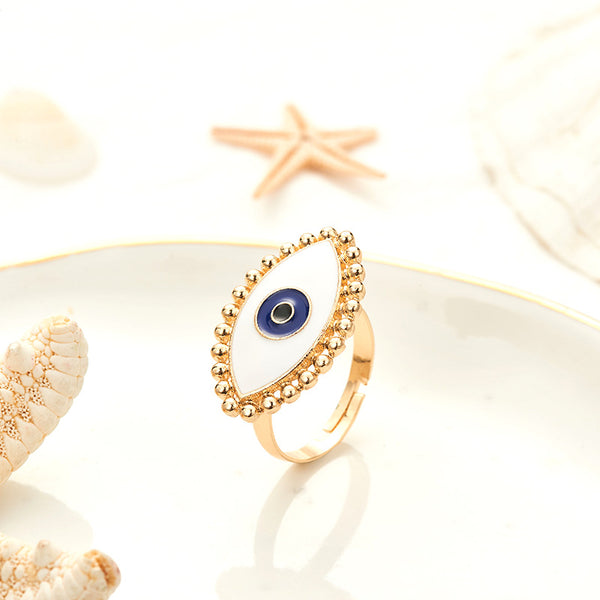 Golden Evil Eye Adjustable Ring - Damnbling