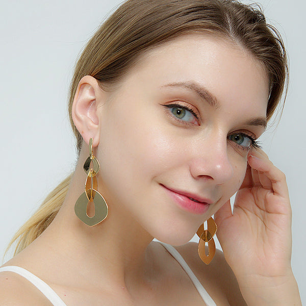 Gold Plated Long Drop Earrings - Damnbling