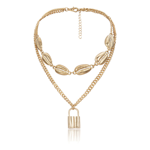Metallic Shell Lock Layering Necklace - Damnbling