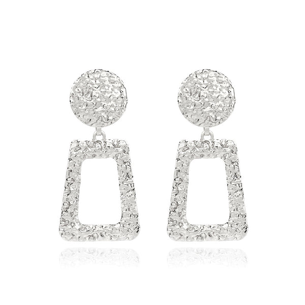 Fuzzy Triangle Drop Earrings - Damnbling