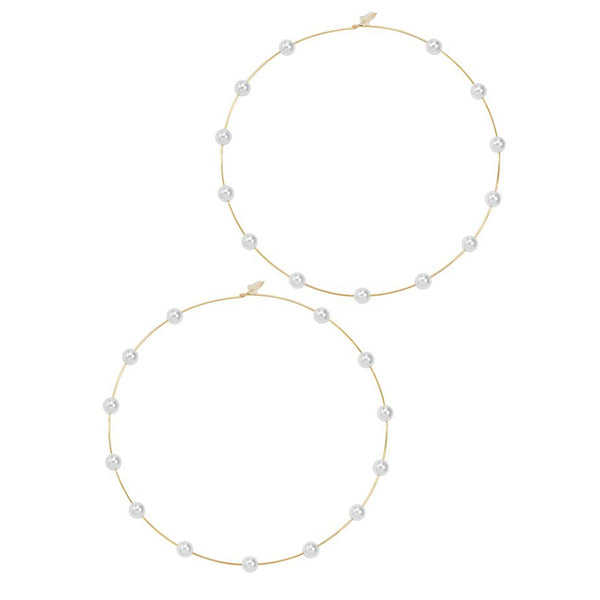 Pearl Rain Hoop Earrings - Damnbling