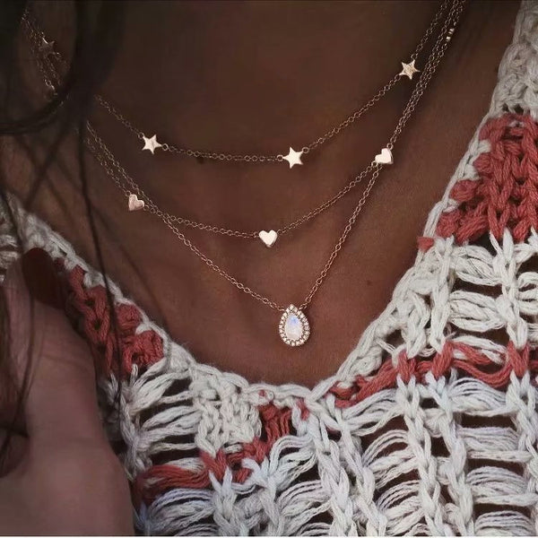 Tear Drop Star Charm Layering Necklace - Damnbling
