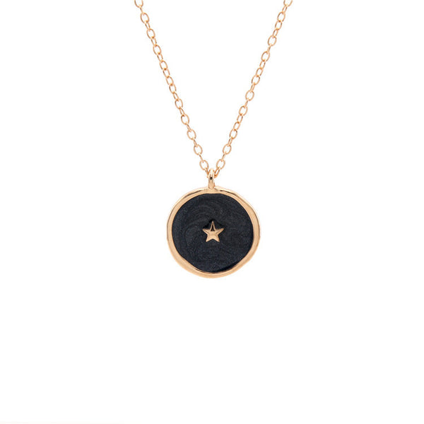 Charcoal Coin Star Pendent Necklace - Damnbling