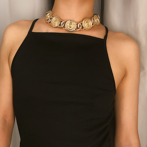 Gold Coin Wide Short Necklace - Damnbling