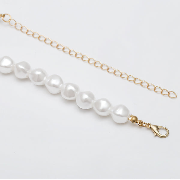 Gold Shell Pearl Short Necklace - Damnbling