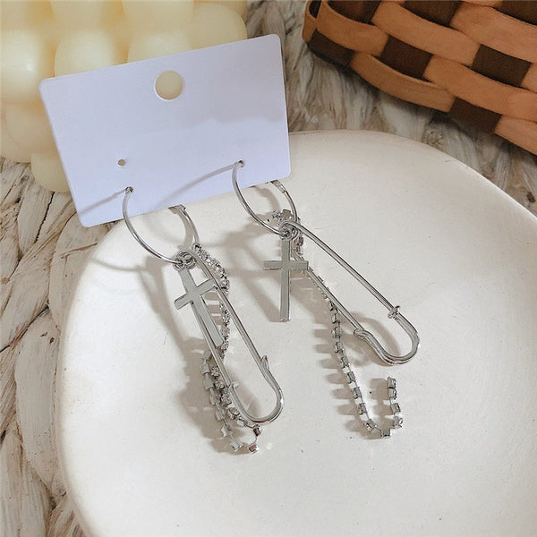 Metallic Cross Long Chain Earrings - Damnbling