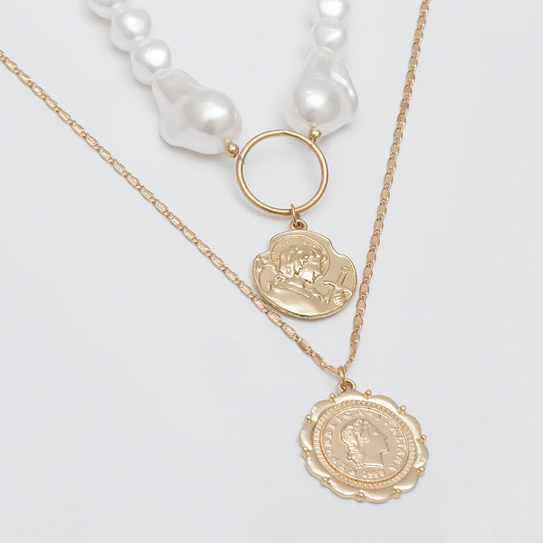 Full Pearl Coin Pendent Layering Necklace - Damnbling
