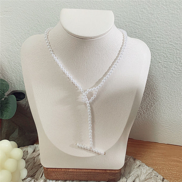 Petite Pearl Long Necklace - Damnbling