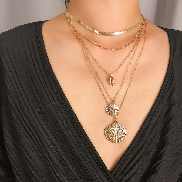 Metallic Sea Shell Layering Necklace - Damnbling
