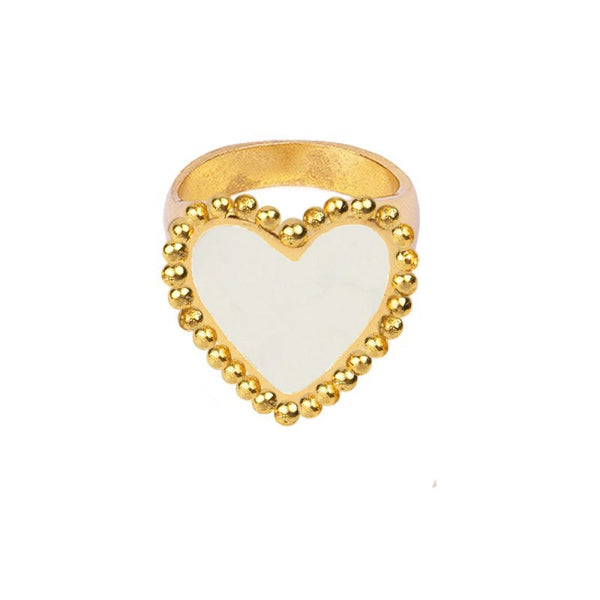 Dazzle Heart Gold Statement Ring - Damnbling